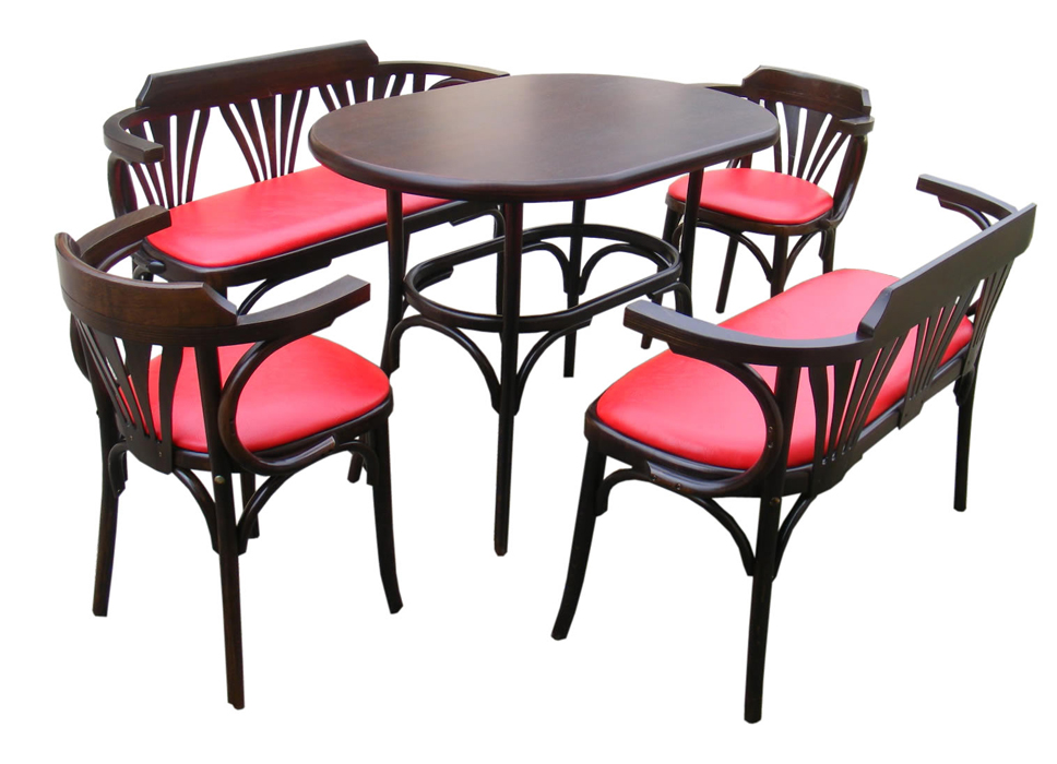 Set Masa si 2 Bancute Bistro + 2 scaune lemn curbat